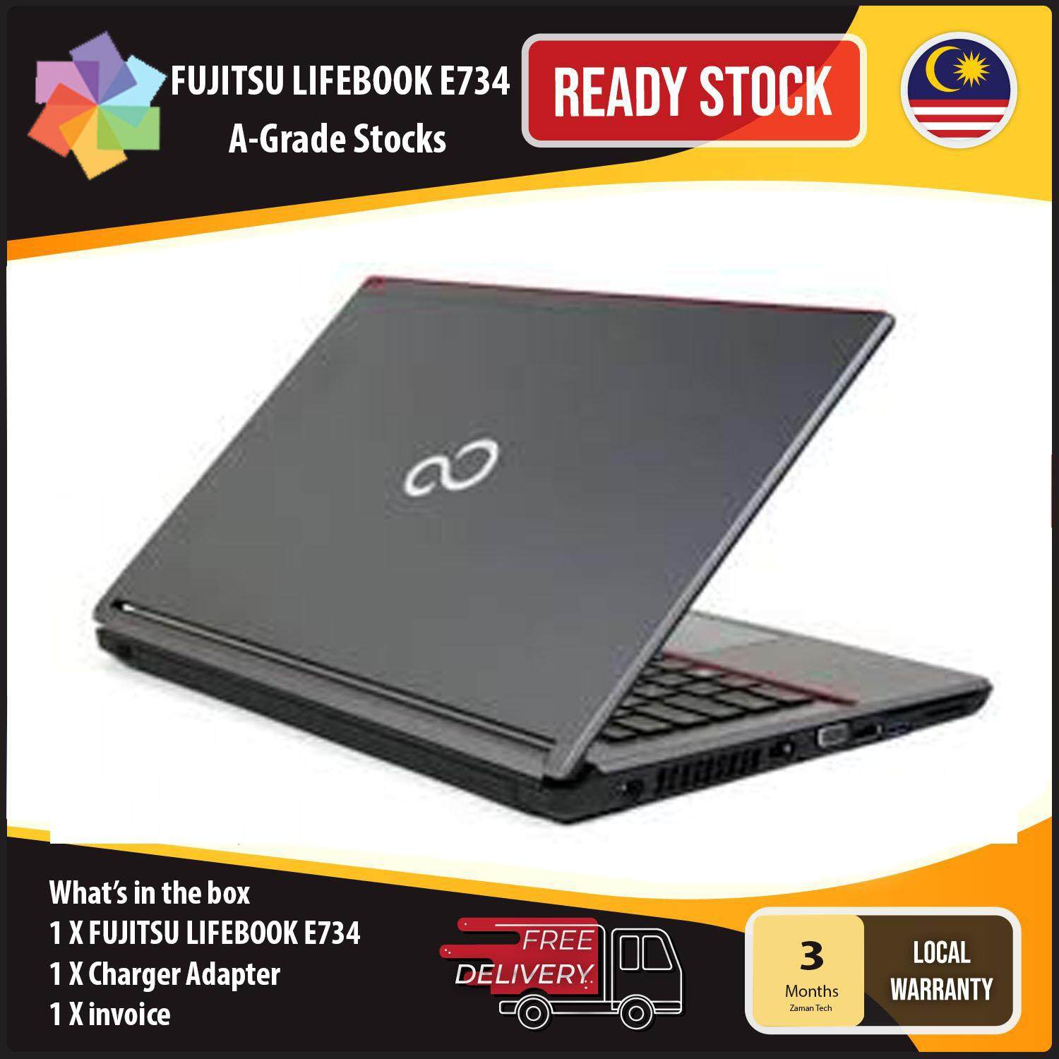 Fujitsu LIFEBOOK E734 -13.3 LED SCREEN - INTEL Core i5-4300M @2.60GHz, 4GB RAM, 500GB HDD, WIN 10 PRO - Refurbished Malaysia