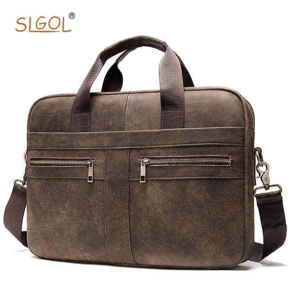 Mens Briefcase Leather Laptop Bag ,SLGOL 14 inch Business Handbag Vintage Messenger Portable Computer Case with Removable Straps