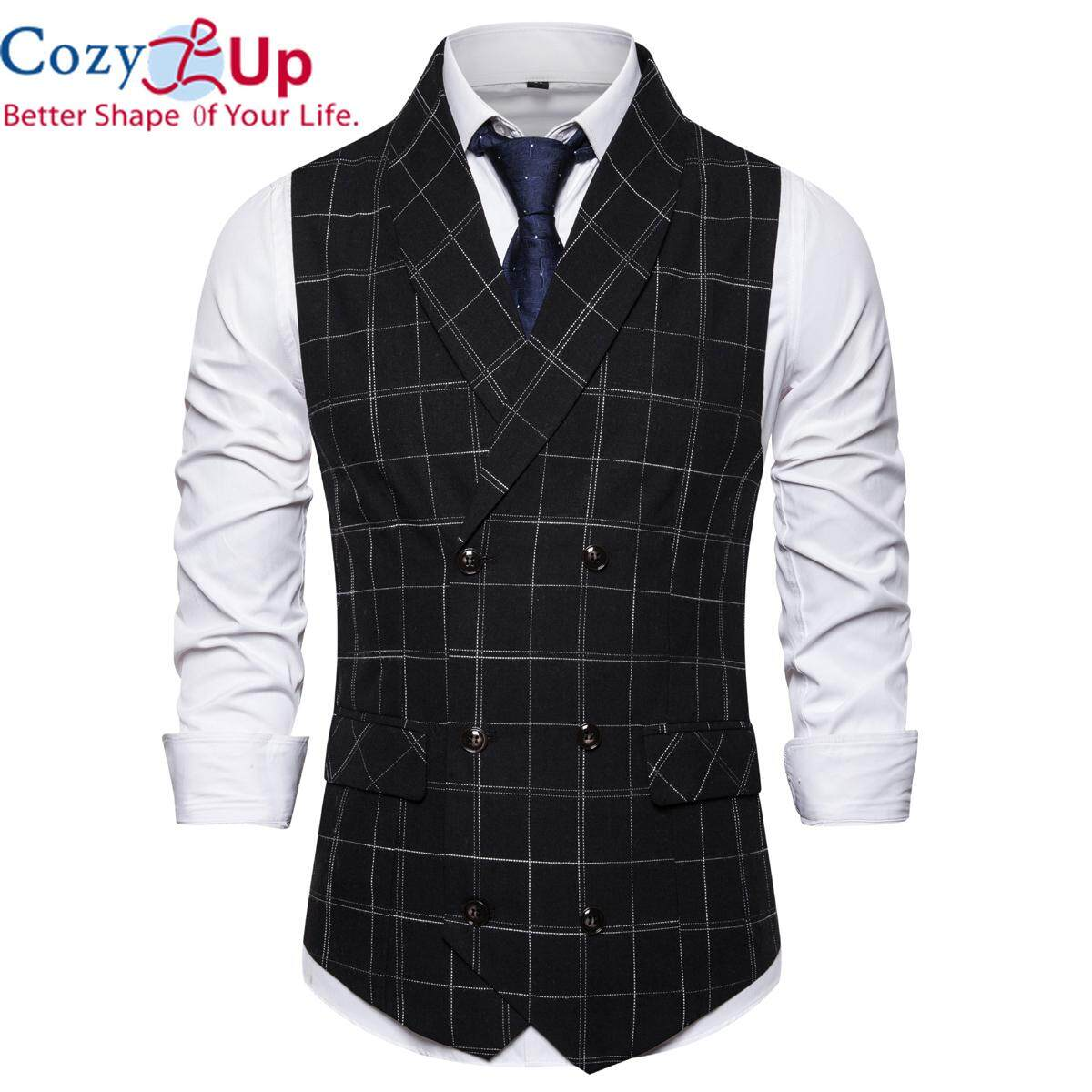 3a5d884e80414 Cozy Up Men Suit Vests Fashion Elegant Business Slim Fit Check Vest Double  Breasted Waistcoat Casual Sleeveless Jacket Gilet