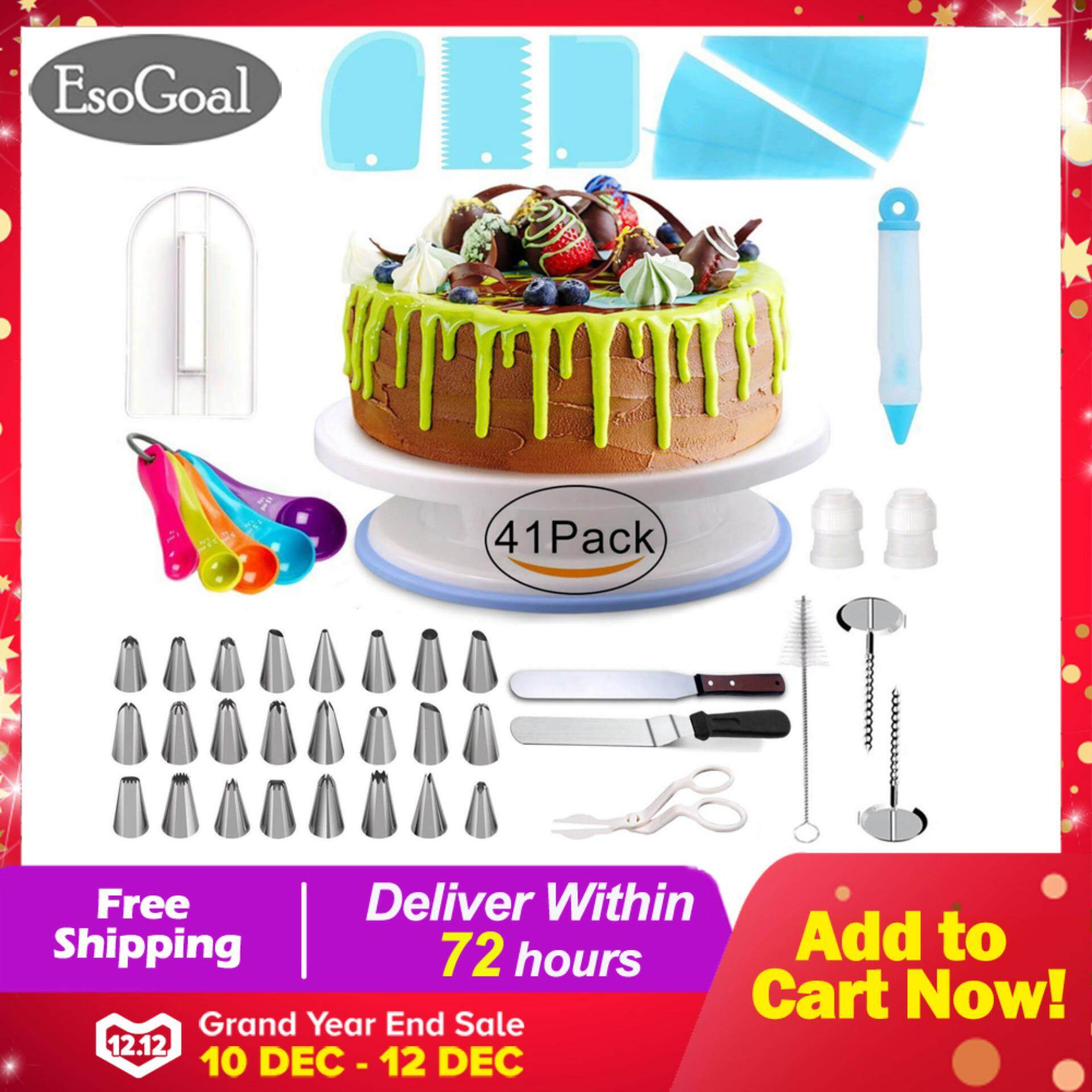 EsoGoal 41PCS Baking Tools Accessories Cake Decorating Supplies with Cake Turntable Baking Kit Set Includes: