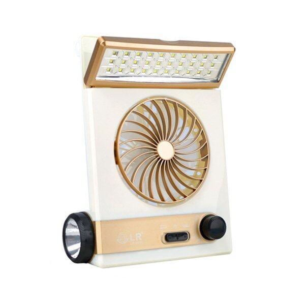 Quạt Sạc Trực Tiếp AC Năng Lượng Mặt Trời Di Động BGD Với Đèn LED Để Bàn & Đèn Pin