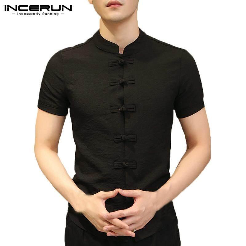 b6bdac2602e6 INCERUN Chinese Style Mens Linen Short Sleeve Shirt Summer Casual Shirts  V-Neck Tops