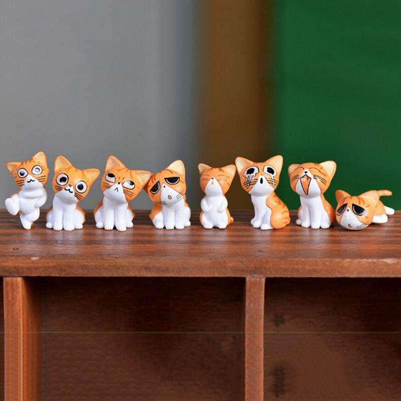 Mecola 8pcs Kawaii Cheese Cats Kitty Statue Miniatures Resin Kitten Cat Figurines Mini Garden Figures Decoration for Home Kids Toys Green