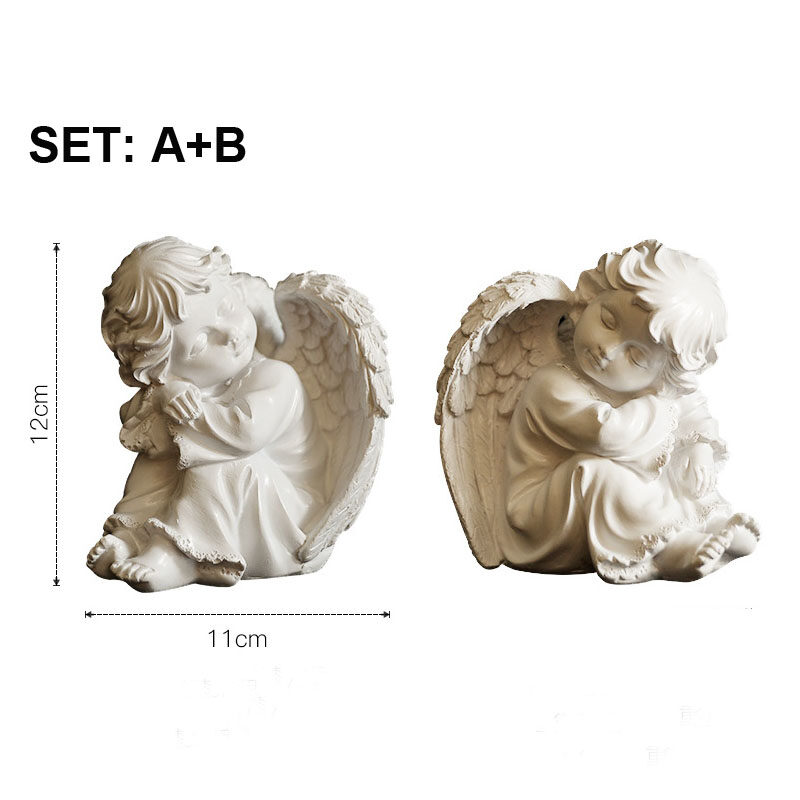 Set Of 2 Resin Adorable Cherubs Angels Statues Figurine Guardian Sleeping Angel Garden Wings Angel Sculpture Cute Little Angel Collection Angel Memorial Statue Lazada Singapore