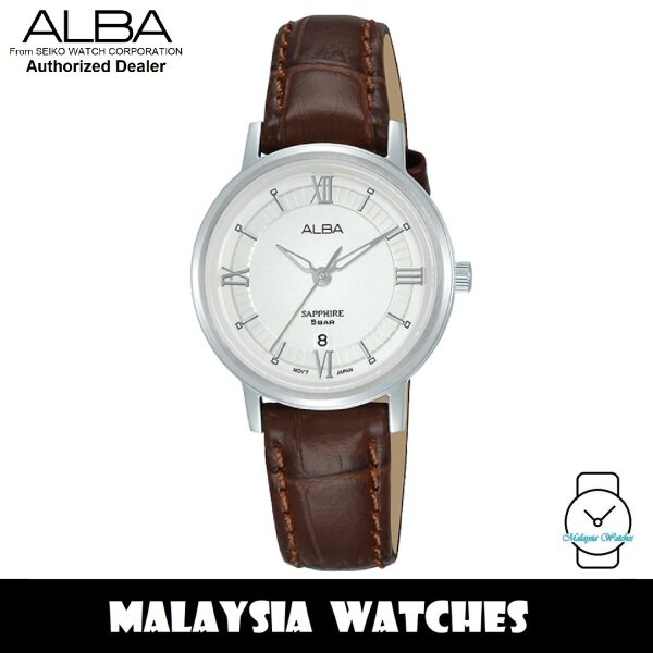 ALBA AH7V67X Quartz Analog Silver White Dial Sapphire Crystal Glass Brown Leather Strap Ladies Watch AH7V67 AH7V67X1 (from SEIKO Watch Corporation) Malaysia