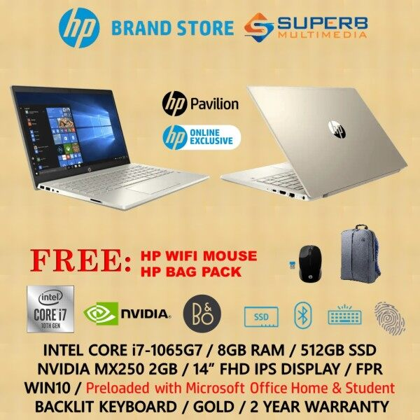HP Pavilion - 14-ce3077tx / 14-ce3073tx / 14-ce3074tx Laptop ( Intel core i7, 8GB Ram, 512GB SSD, Nvidia MX250 2GB, Win10, OPI) online exclusive Malaysia