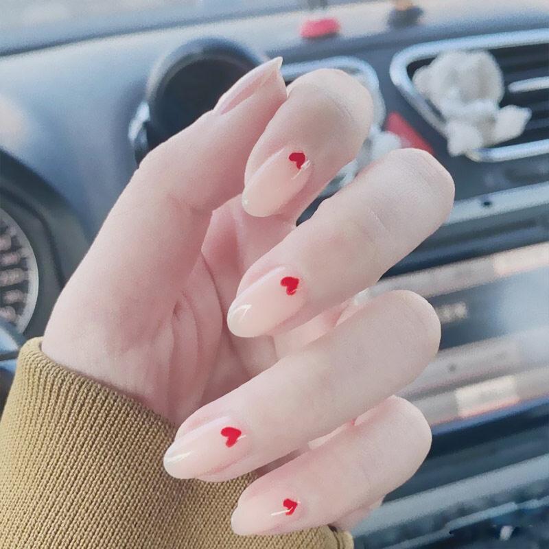 Bộ 24 móng tay giả màu nude tự nhiên hình trái tim kèm keo dán, móng tay dáng ngắn phong cách Hàn Quốc thích hợp đi tiệc, hẹn hò - INTL giá rẻ