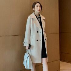 Áo Khoác Len Kẻ Sọc Cho Nữ, Áo Khoác Ngoài Dáng Dài Vừa Phải Kiểu Hàn Quốc Mùa Thu Đông 2020