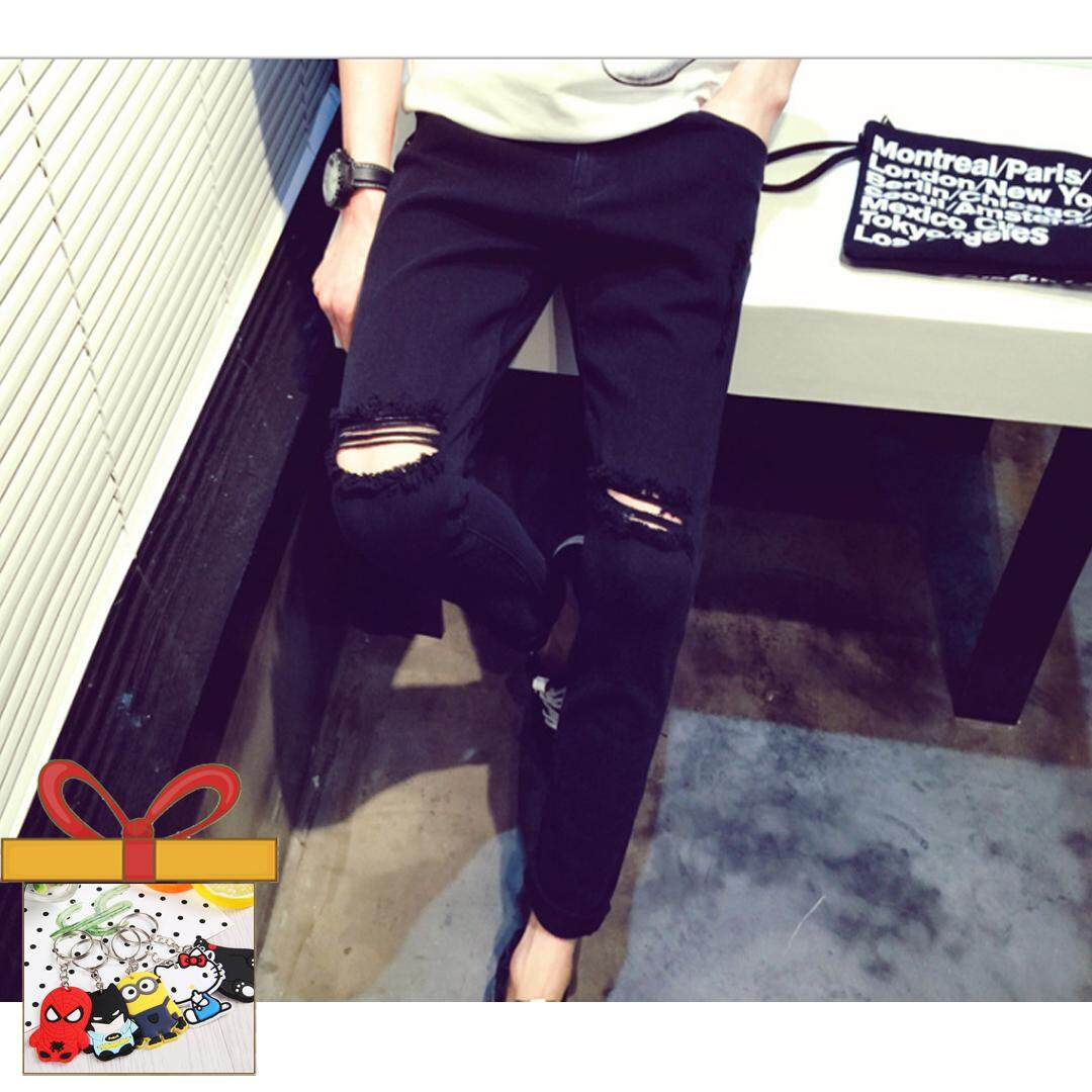 3d01a77397 2017 New Fashion Holes At The Knees Men's Casual Ripped Jeans Denim Pants  -Black