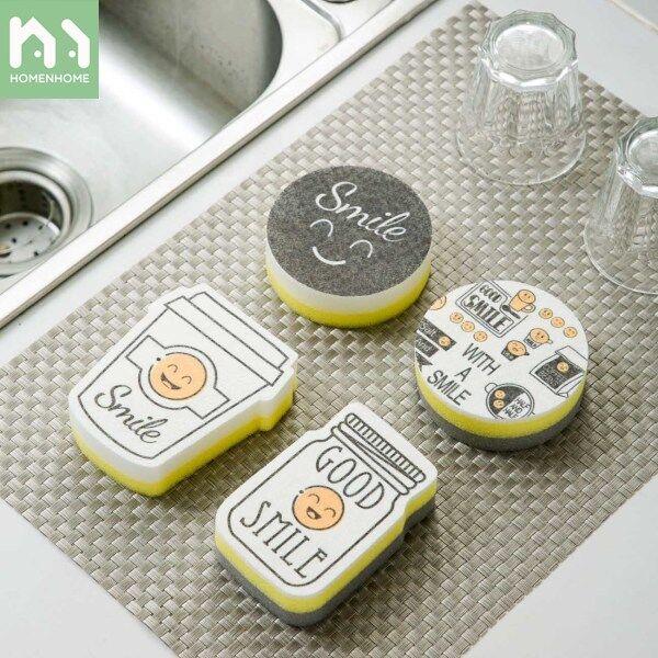 Bộ 4 Món Homenhome, Miếng Bọt Biển Mặt Cười Miếng Lau Bát Đĩa Nhà Bếp Miếng Cọ Rửa Để Làm Sạch Chậu Và Mặt Bàn