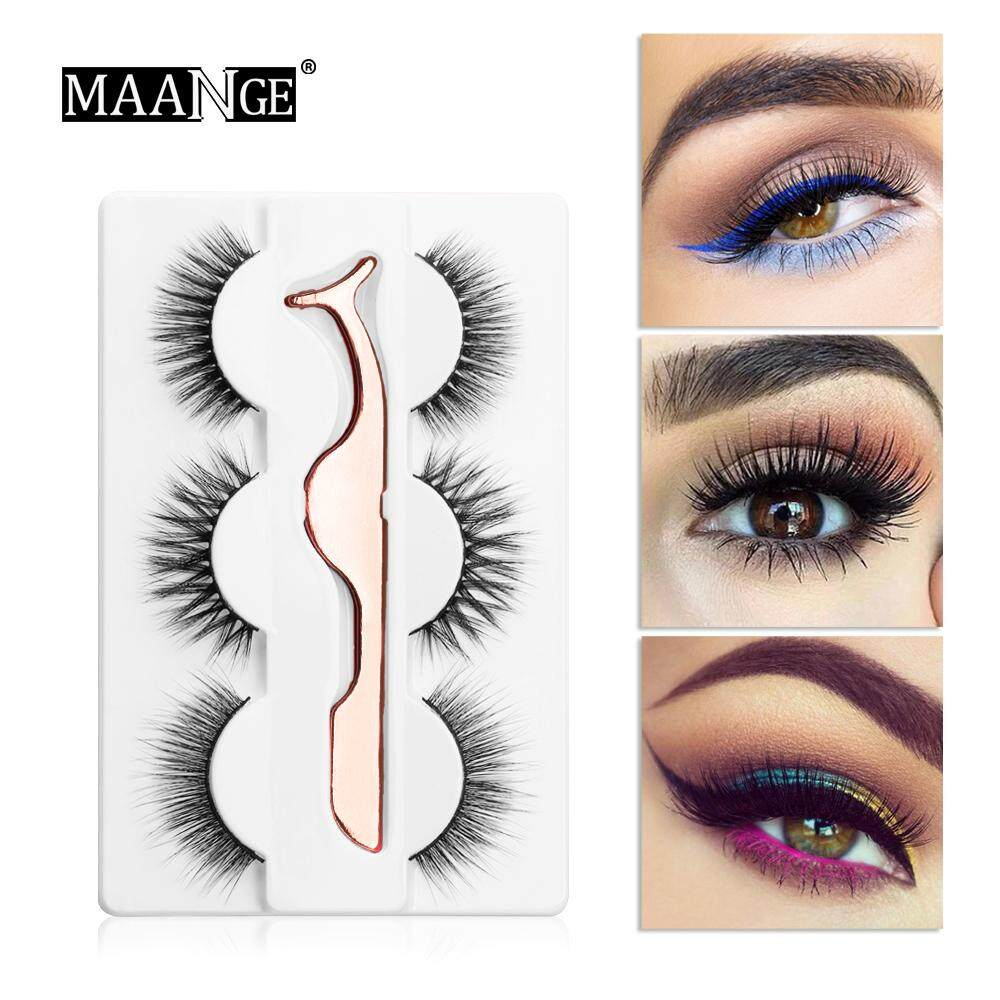 c9a2d22380a MAANGE 3 Pairs Natural False Eyelashes Wispy Fluffy 1Pcs Tweezers Extension  Beauty Tools