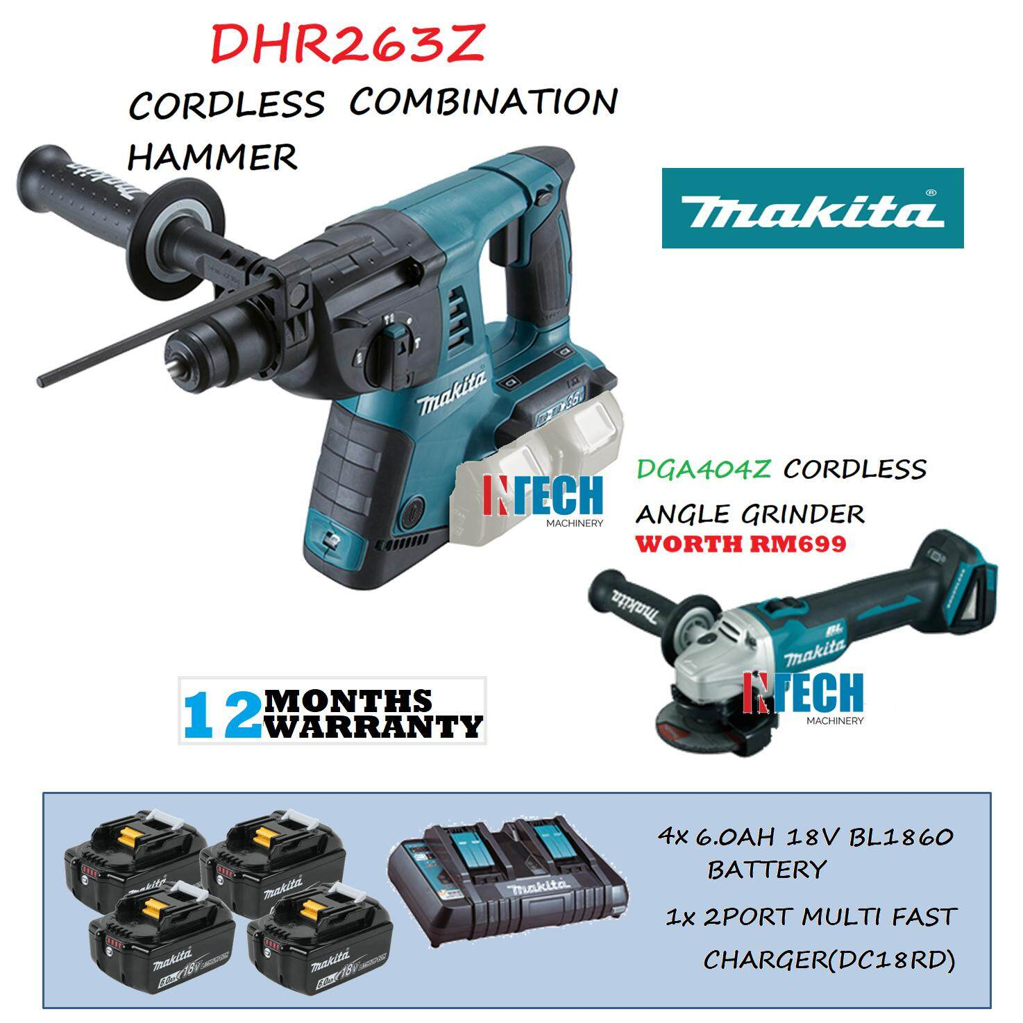 MAKITA DHR263Z CORDLESS COMBINATION HAMMER C/W 4x6.0AH BATTERY(BL1860B)+1x 2PORT MULTI FAST CHARGER(DC18RD)+DGA404Z CORDLESS GRINDER