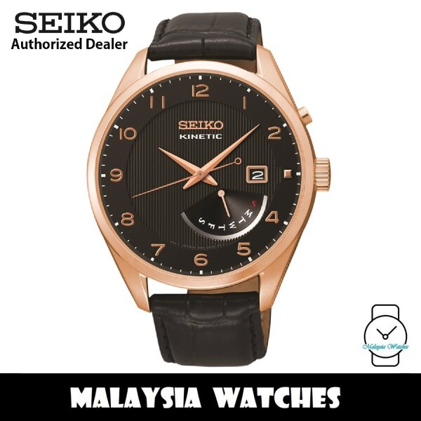 Seiko SRN054P1 Kinetic Black Dial Curved Hardlex Glass Rose Gold-Tone Stainless Steel Case Black Calfskin Leather Strap Mens Watch Malaysia