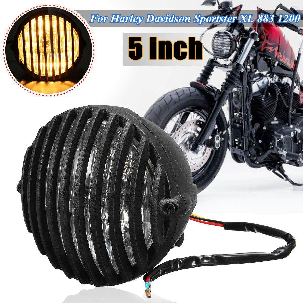 6'' Metal Headlight & Grill Cover For Harley Chopper Bobber Cafe Racer  Touring