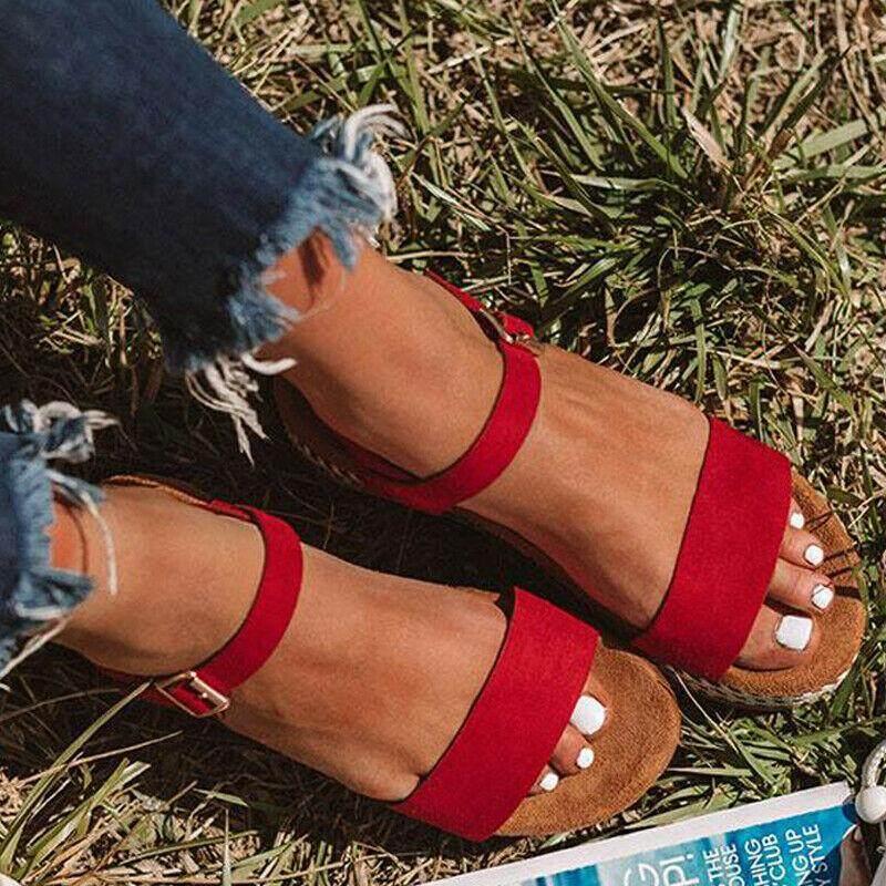 Womens Ladies Flatform Cork Espadrille Sandals Wedge Lace Up Ankle Shoes Size UK