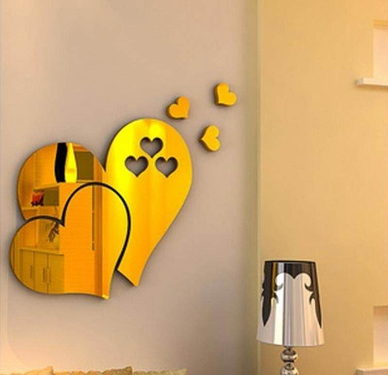 3D Love Hearts Art Mirror Wall Sticker DIY Home Room Mural Decor Removable Decal