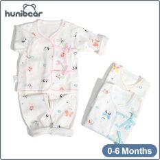 [Hunibear] Sơ Sinh Trẻ Sơ Sinh Tinh Khiết Bông Bé Quần Áo Hai-Mảnh Đồ Lót Pajama Set 0-6 Tháng