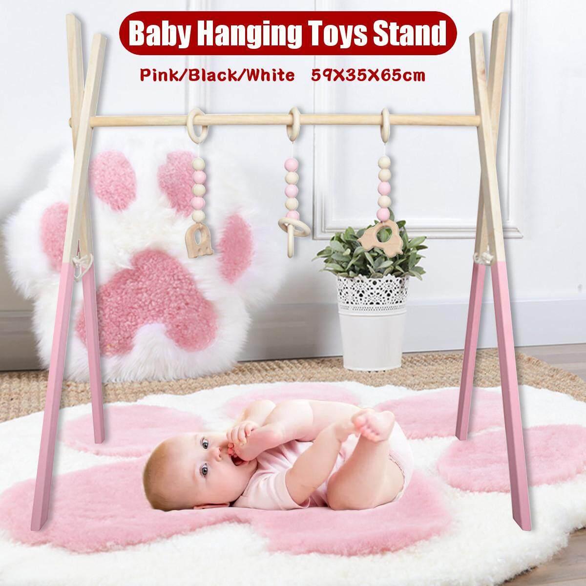 Wood Baby Play Stand Toy Nursery Fun Hanging Toys Mobile Wood Rack Activity Gym Giá Siêu Cạnh Tranh