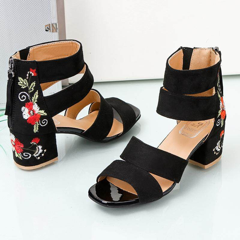 9e8e9794ec2 Summer Women Sandals Thick High Heeled Shoes National Style Embroidery  Casual Platform Shoes