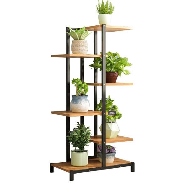 Plant Stands Rack Metal Outdoor Indoor Wood Shelf Vintage Black Display 60*23*125CM