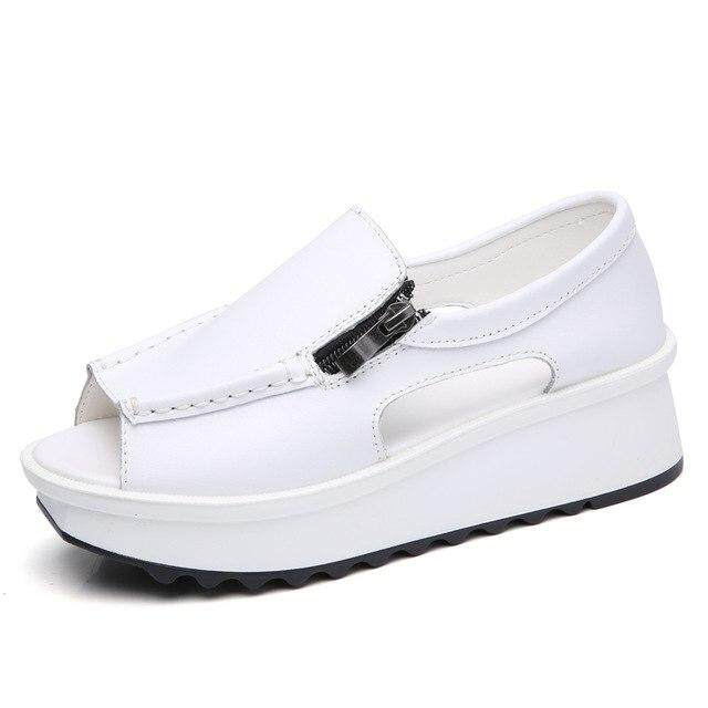 STQ 2019 Summer women sandals wedges sandals ladies open toe round toe  zipper black silver white 4ffdcc415e21
