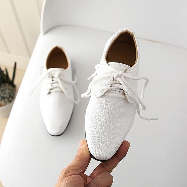 2020 New Kids Da Thật Giày Tây Cưới Cho Bé Trai Thương Hiệu Trẻ Em Đen Giày Cưới Bé Trai Giày Sneaker Đế Xuồng Chính Thức 21-36