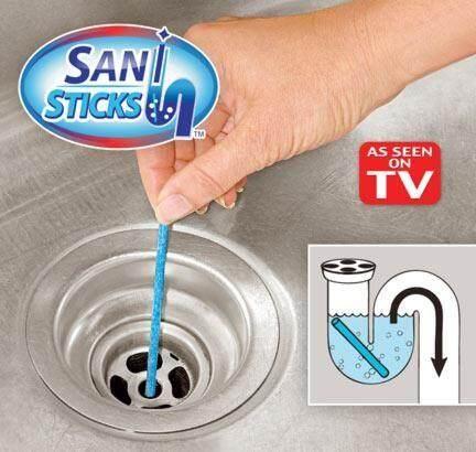 Sani Sticks Drain Remove Clogs Blocked Sink Pipe Plumbing Cleaning Deodorizing Agent Stick Cleaner / Pencuci bersih Sinki Blok Sumbat