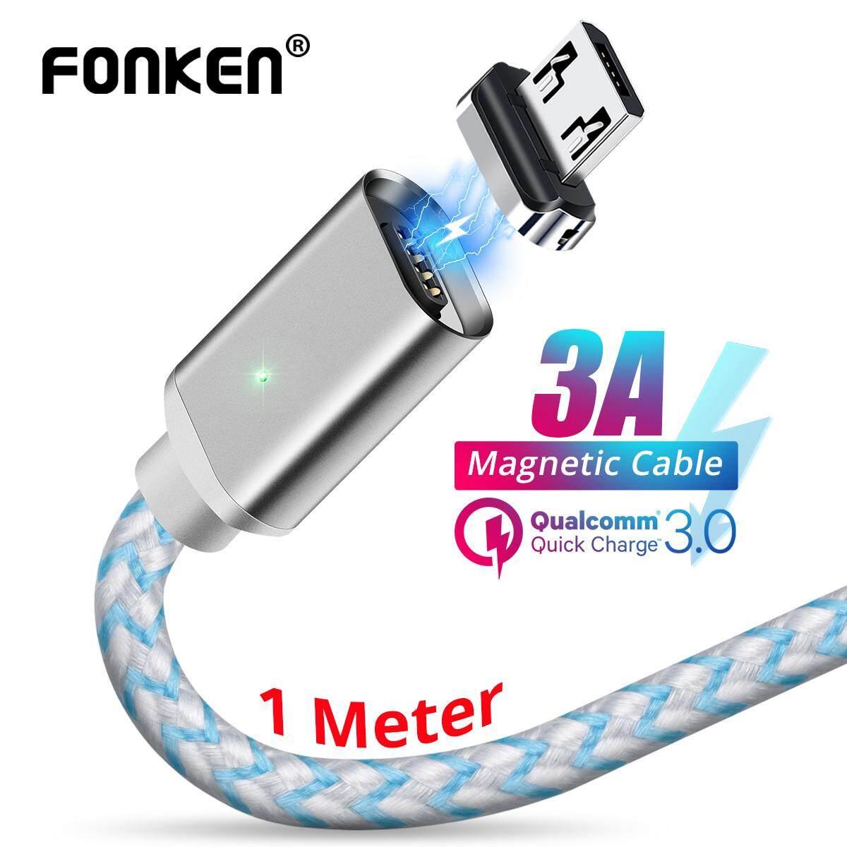 FONKEN Micro USB Cáp Từ 3A Android Điện Thoại Nam Châm Sạc Nhanh USB Dây Sạc Di Động Sạc Nhanh Dây