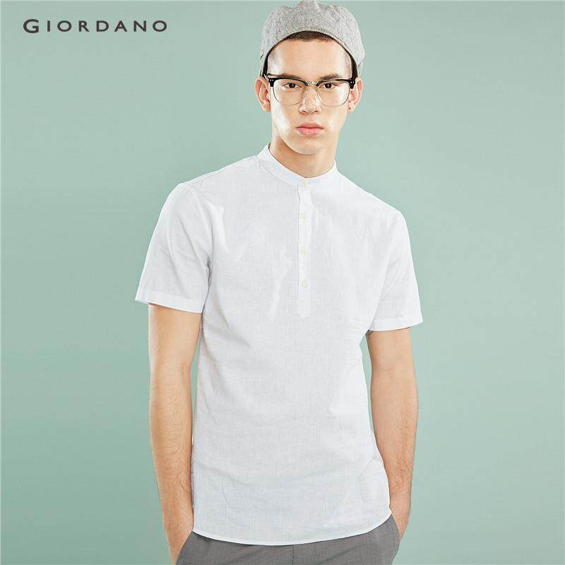 1ebfb0ba9 Giordano Men Shirts Linen-Cotton Shirt Men's Brand Shirt Brief Slim Fit  Thin Short Sleeve