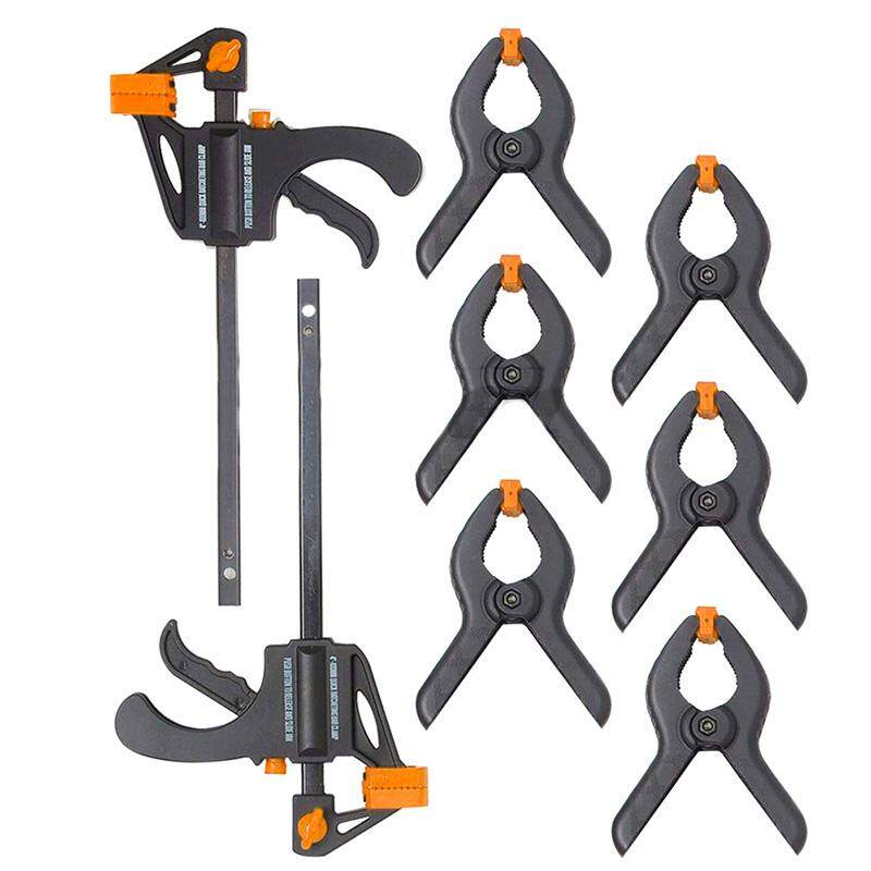 Xj668 10pc Mini Quick Clamp & Ratcheting Clamp Set Including Ratcheting Bar Clamps with Quick Release and Spreader, Quick Releasing Ratchet Clamps and Nylon Spring Clamps