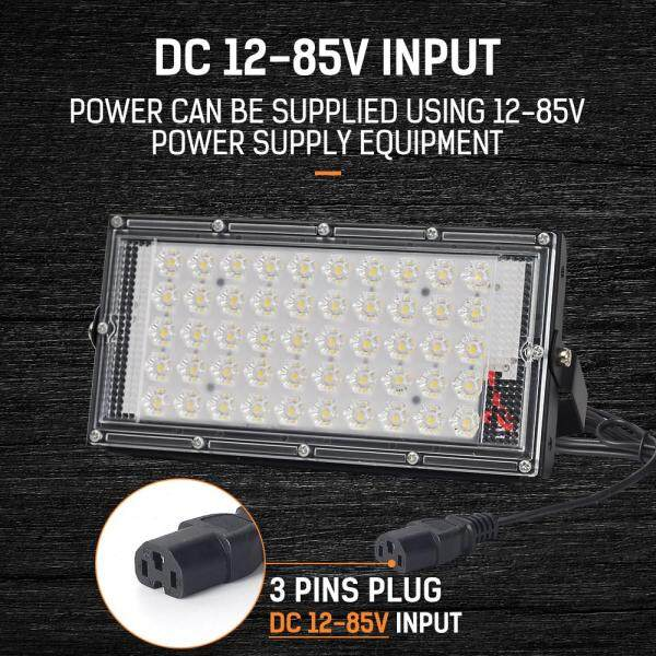 Đèn Led DC12-85V DINGDIAN Led 3 Chân Cắm Ngoài Trời IP65 Chống Nước 50W Công Suất Hoàn Hảo 6500K Đèn Pha Trắng Lạnh Đèn Pha Led Siêu Sáng Seachlight