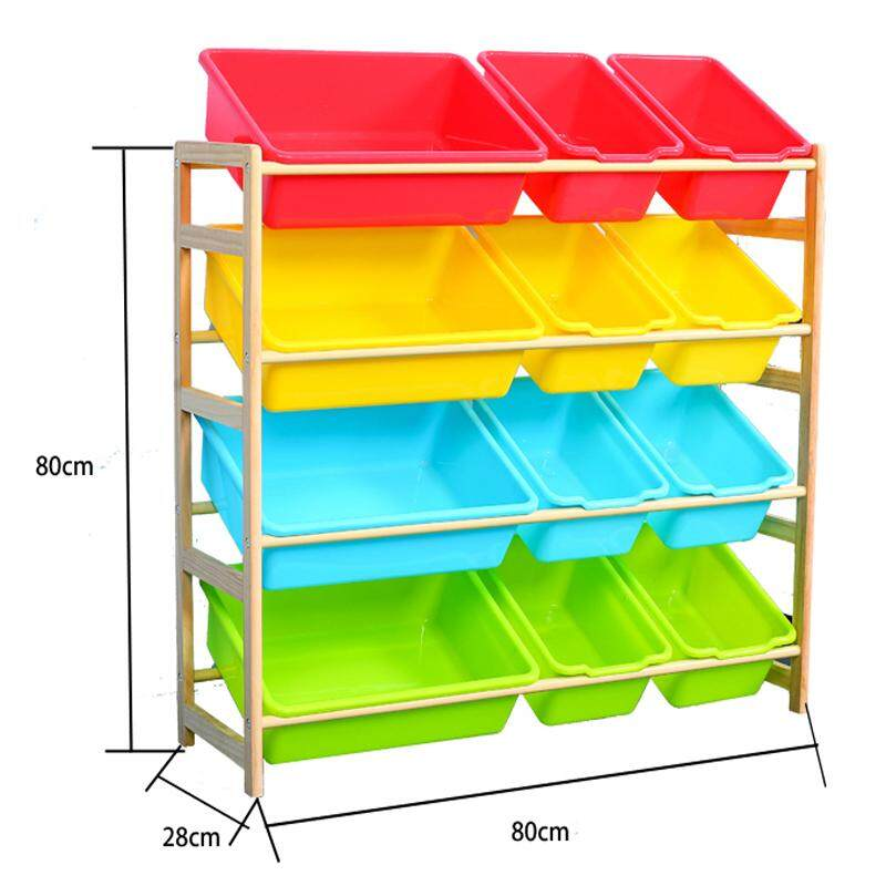 RuYiYu - 80 X 28 X 80cm, Kids Toy Organizer and Storage Bins, 12-Bins in Fun Colors, Toy Storage Rack, Natural/Primary