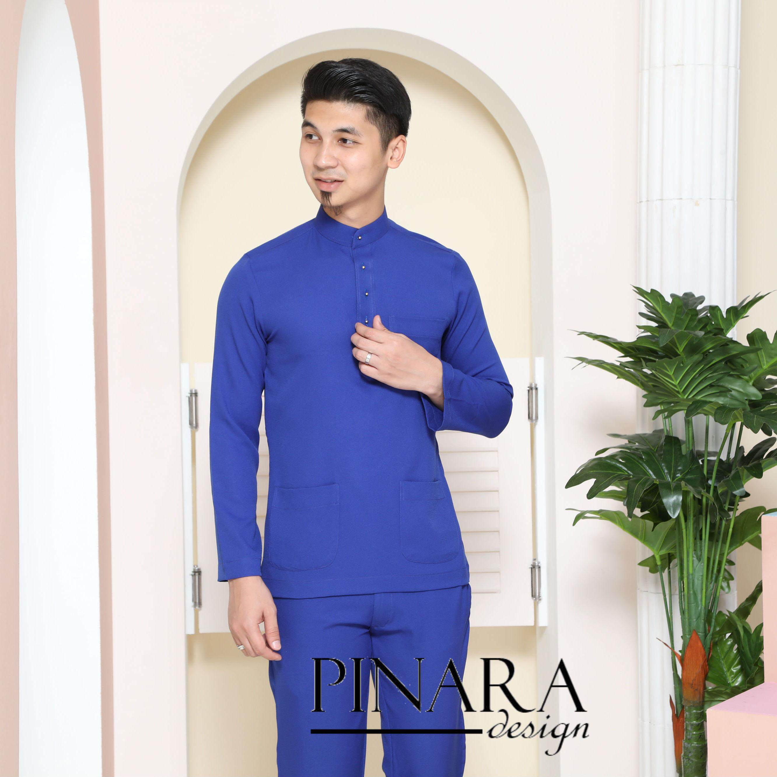 Baju Melayu Slim Fit (royal Blue) By Pinara Exclusive.