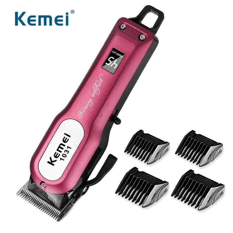 Kemei KM-1031 Kẹp tóc chuyên nghiệp Kéo cắt tóc mạnh mẽ Máy cắt tóc có thể sạc lại + 4 giới hạn kích thước Comb