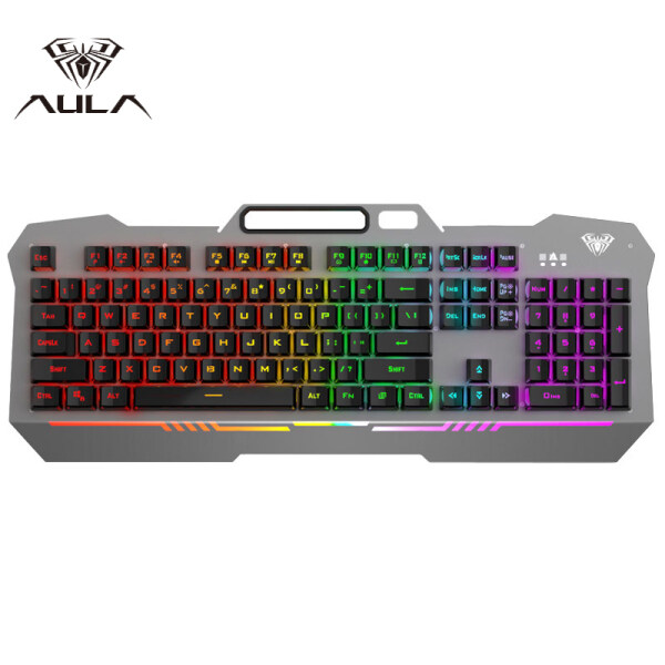 AULA F3010 Membrane Gaming Keyboard Metal Panel USB Wired Backlight Floating Keycap PC Keyboard for Computer Game Laptop E-sports Singapore