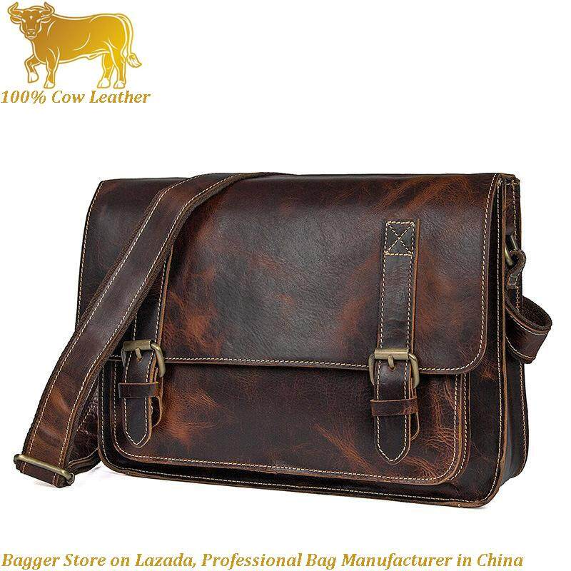 148e1509a3 Retro Italy Genuine Cow Leather Casual Messenger Bag Sling Shoulder Bags  For Men Business Fashion Cool