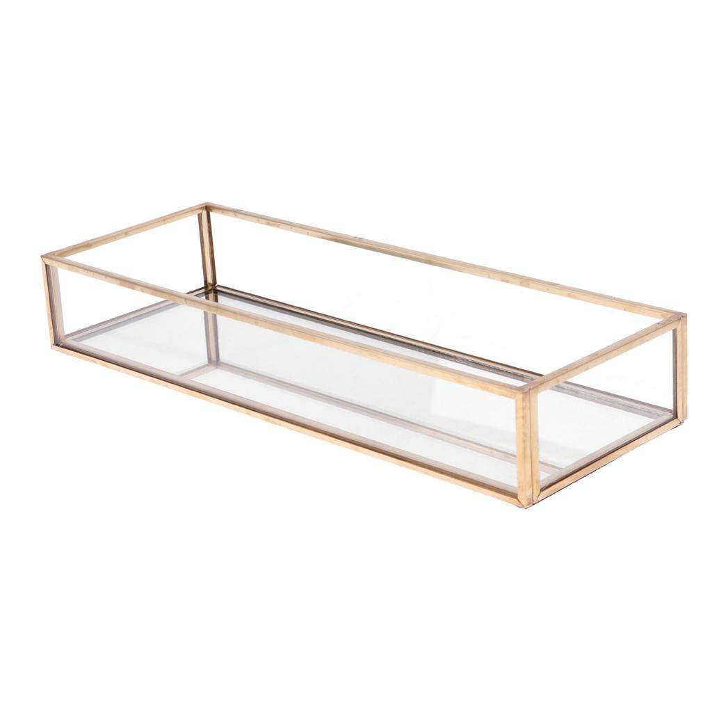 GuangquanStrade Rectangle Glass Jewelry Tray Jewelry Holder Succulent Plant Planter Table Decor