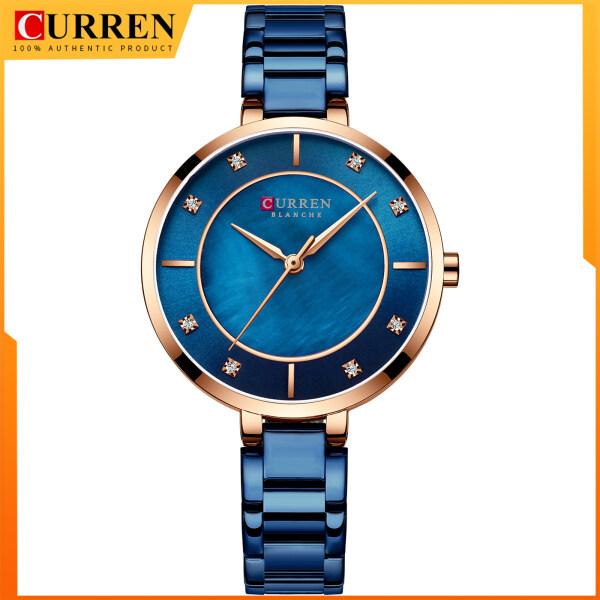 CURREN Women Watches  Fashion Luxury Rhinestone Dial Quartz Clock Waterproof Stainless Steel Band Wristwatch for Ladies 9051 Malaysia