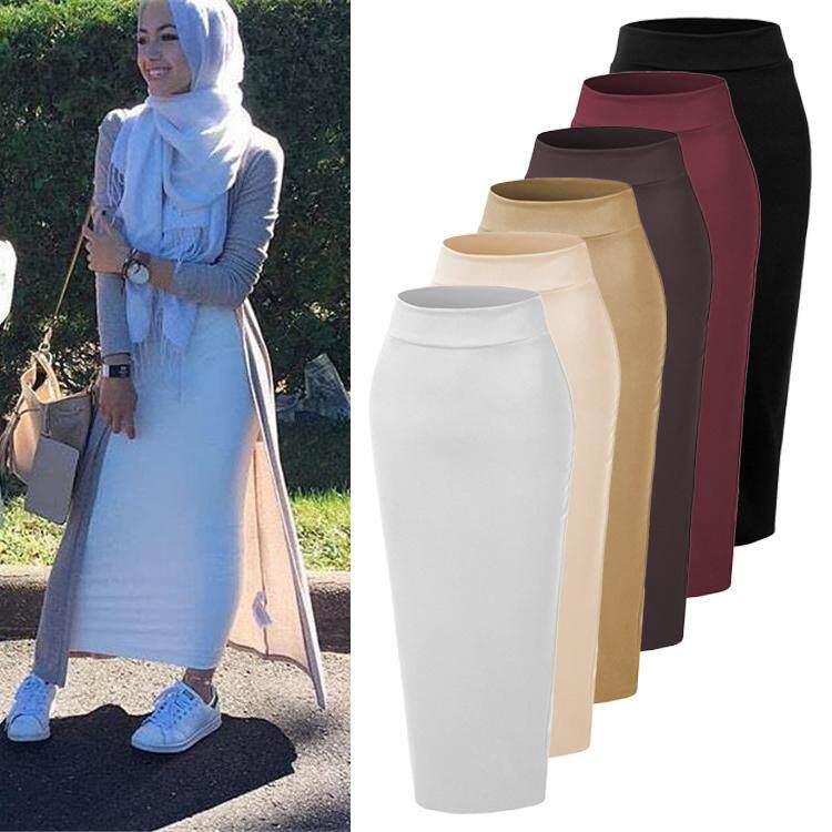 Women Turkish Islamic Clothing Fashion All Match Skirts Bodycons Wine Red Skirts Dress