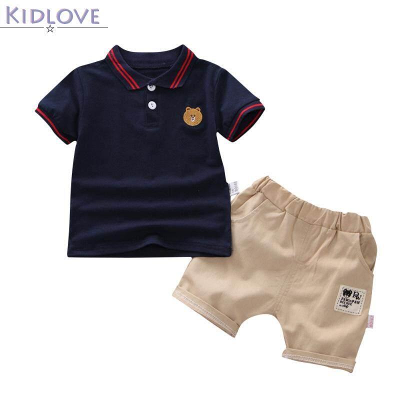 Kidlove 2 ชิ้น/เซ็ตชุดเด็กการ์ตูนพิมพ์เสื้อผ้าชุดเสื้อแขนสั้น + กางเกงขาสั้นเด็กชุด