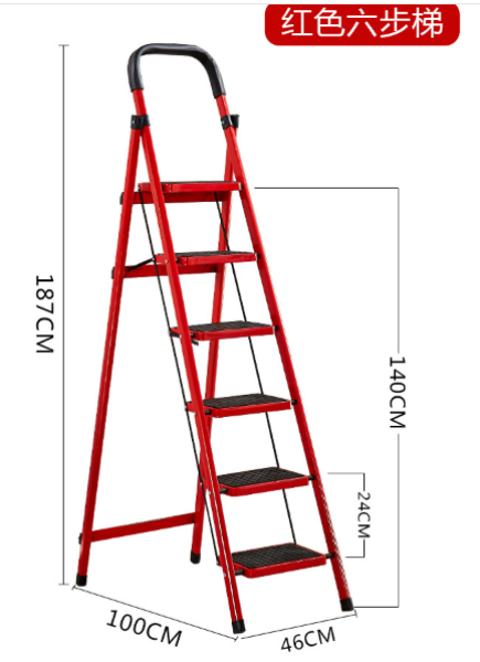 6-Tier Lightweight Steel Step Ladder with Hand Grip Folding Ladder Tangga Lipat Multifunction 6 SIX TIER heavy duty double sided wide steps household rack warehouse file aluminium