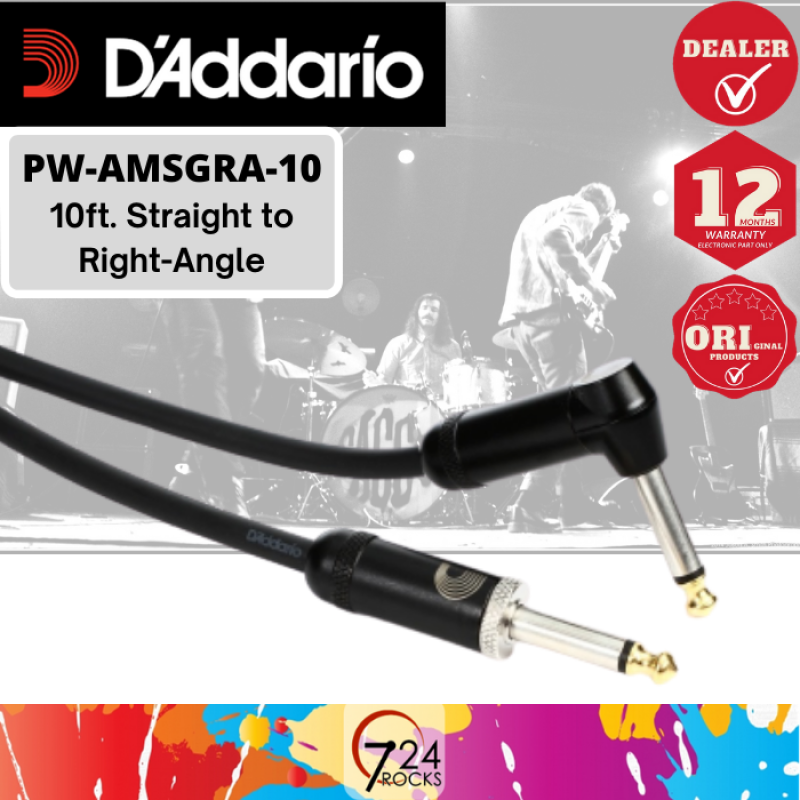 724 ROCKS Daddario Planet Waves American Stage Instrument Cable / Guitar Cable  PW-AMSGRA-10 10ft Malaysia
