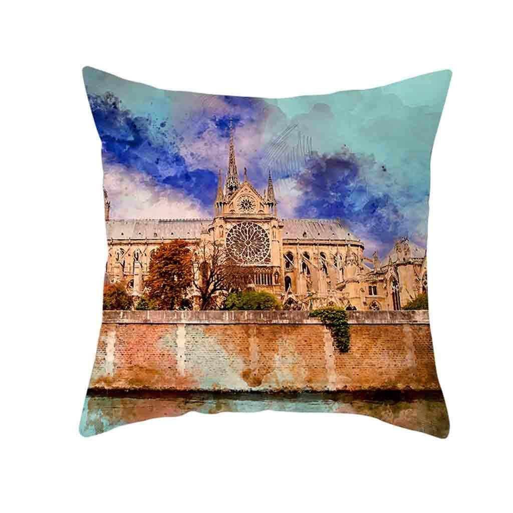 Hotilystore Retro Cushion Cover London Paris City Street Scenery Pillowcase Home Decor