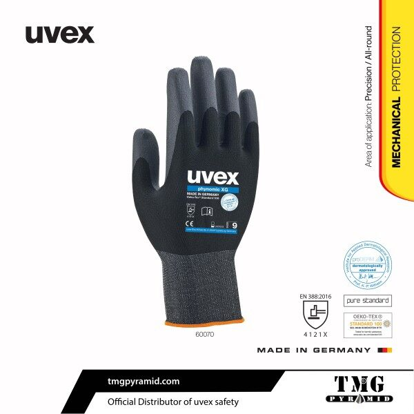 uvex phynomic XG Safety Gloves, Mechanical Protection Aqua-Polymer Xtra Grip Coating Safety Glove, Made in Germany