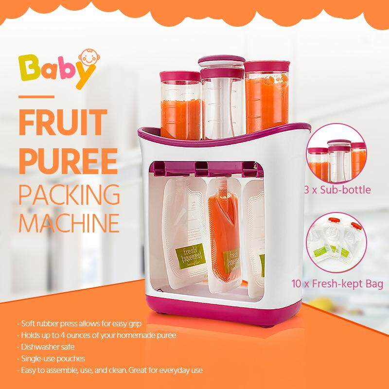 Infant  Baby  Feeding Food Squeeze Station Toddler Fruit Maker Dispenser Homemade Maker Make Organic Food For Newborn Fresh Fruit Juice Containers Storage Baby Feeding Maker Kids Insulation Bags image on snachetto.com