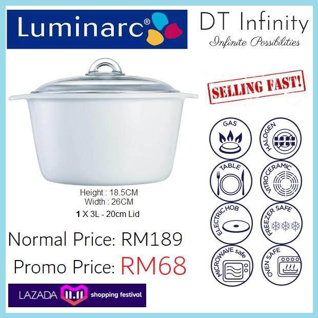 Luminarc 3.0L Vitro (White) [Microwave, Oven, Stove, Electric, Dishwasher Safe!][BUBBLE WRAP]