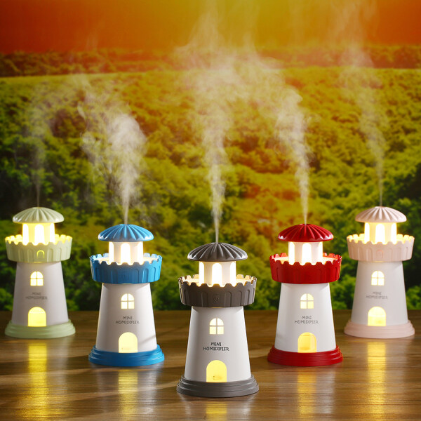 Household small orientation humidifier 增香 machine night light mounted to improve air humidity water fog spray humidification incense machine to send gift lighthouse style Singapore