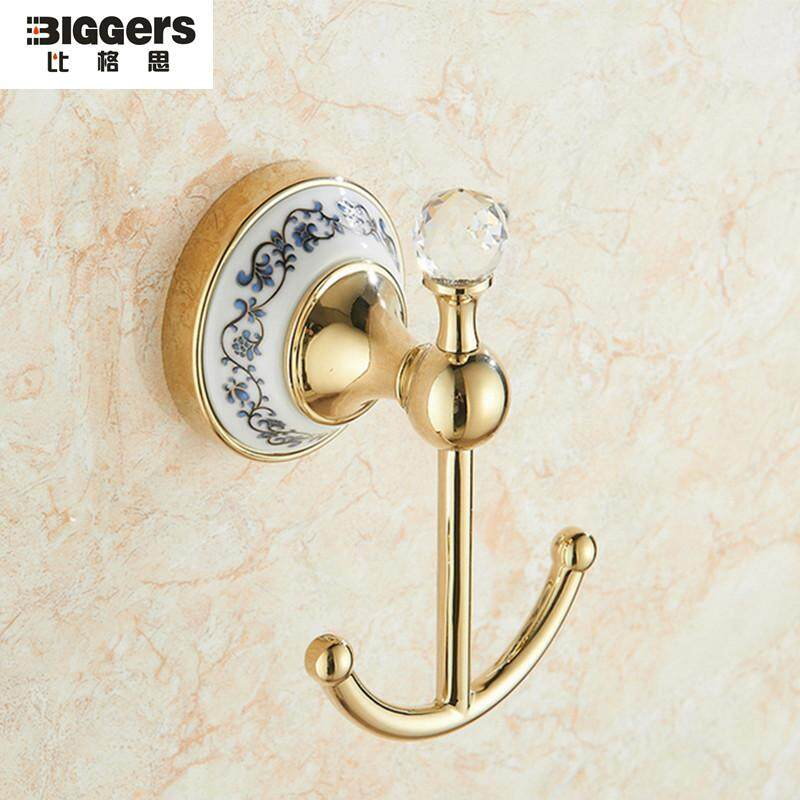 Biggers sanitary Luxury Gold color copper ceramic bathroom double robe hook coat hook hat clothes hanger K5093