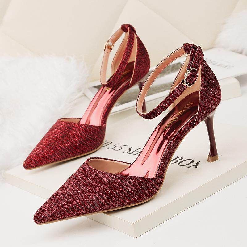 Spring Women Wedding Shoes String Bead Ankle Strap Dress Shoes White High  Heels Pumps Summer Sandals 65e32e8f23b7