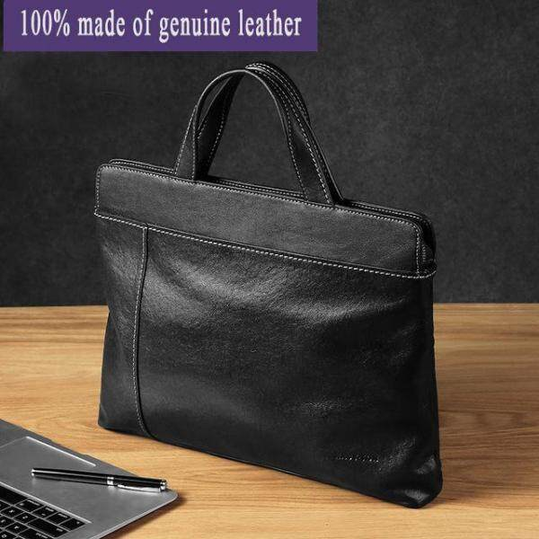 High quality Briefcase Genuine Leather 14 laptop bag Casual Men Handbag Fashion Tote Bag Male Laptop Briefcase BagsShoulder Men Bag Sling bag Business bag  for Male Crossbody Bag waterproof